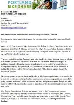 Portland Press release